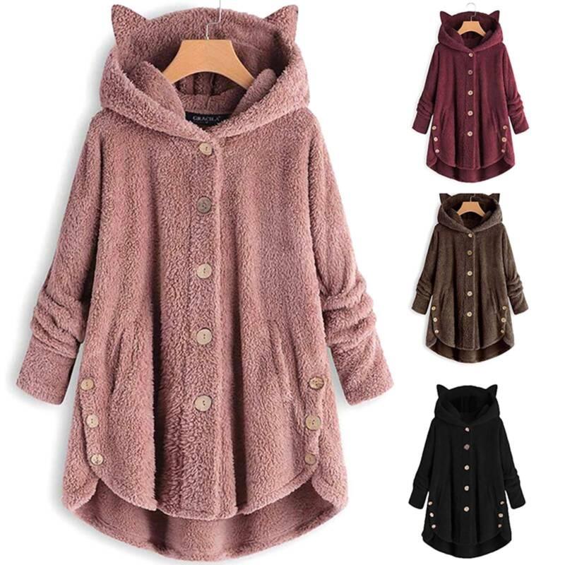 Women Button Faux Fur Coat Girls Fleece Warm Hooded Jacket C