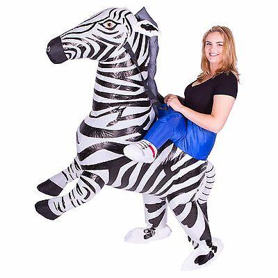 AUFBLASBARES ZEBRAREITKOSTÜM FÜR ERWACHSENE TIERE ZOO SAFARI - Zoo Tier Kostüm Für Erwachsene