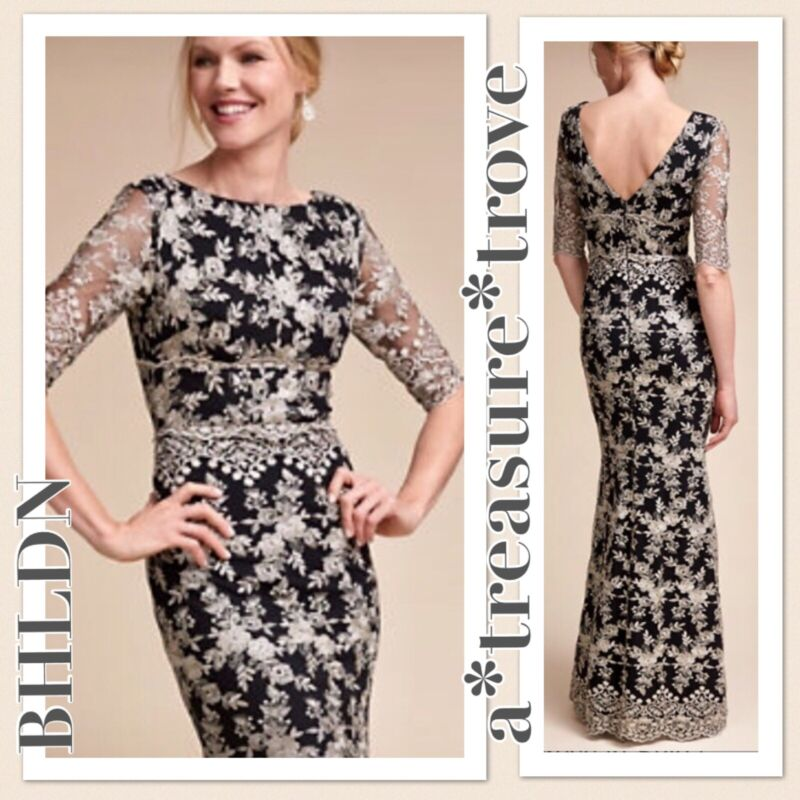 New SOLD OUT BHLDN BETSY Sz 6 8 10 16 Black Gold Metallic Embroidered Long Gown