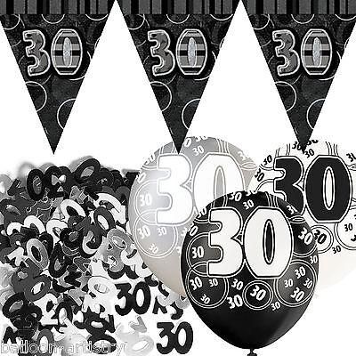 Black Silver Glitz 30th Birthday Flag Banner Party Decoration Pack Kit Set
