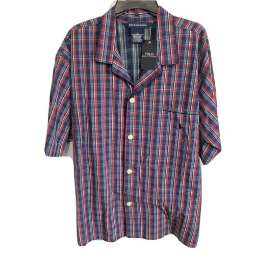 Polo Ralph Lauren Pajama S/S Top Shirt L Plaid Blue Red Cotton Sleepwear Woven Clothing, Shoes & Accessories