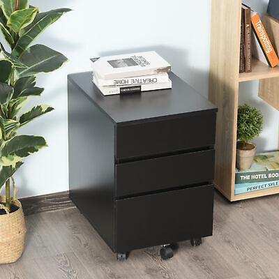 Homcom 3 Drawer Filing Cabinet Home Office File Organizer With 5 Castors Black
