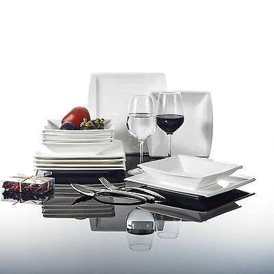 Malacasa, Serie Blance, 12tlg Porzellan Tafelservice Geschirrset für 6 Personen
