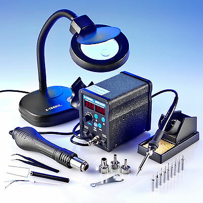 X Tronic Model 6040 Esd Safe Soldering Iron Hot Air Station Kit   Free Mag Lamp