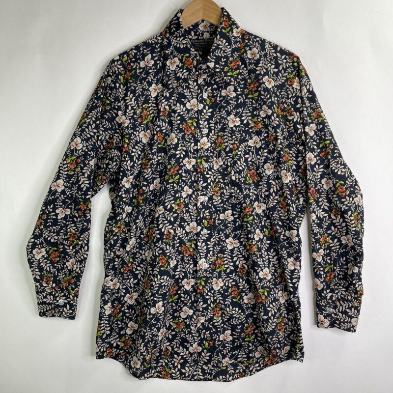 VTG 70s NATIONAL SHIRT SHOPS Long Sleeve Large Collar Floral Disco Shirt Large