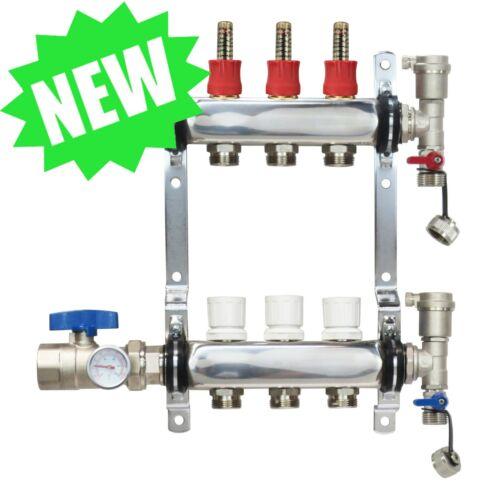 3 Loop/Port Stainless Steel PEX Manifold Radiant Heating w/ connectors - PEX GUY