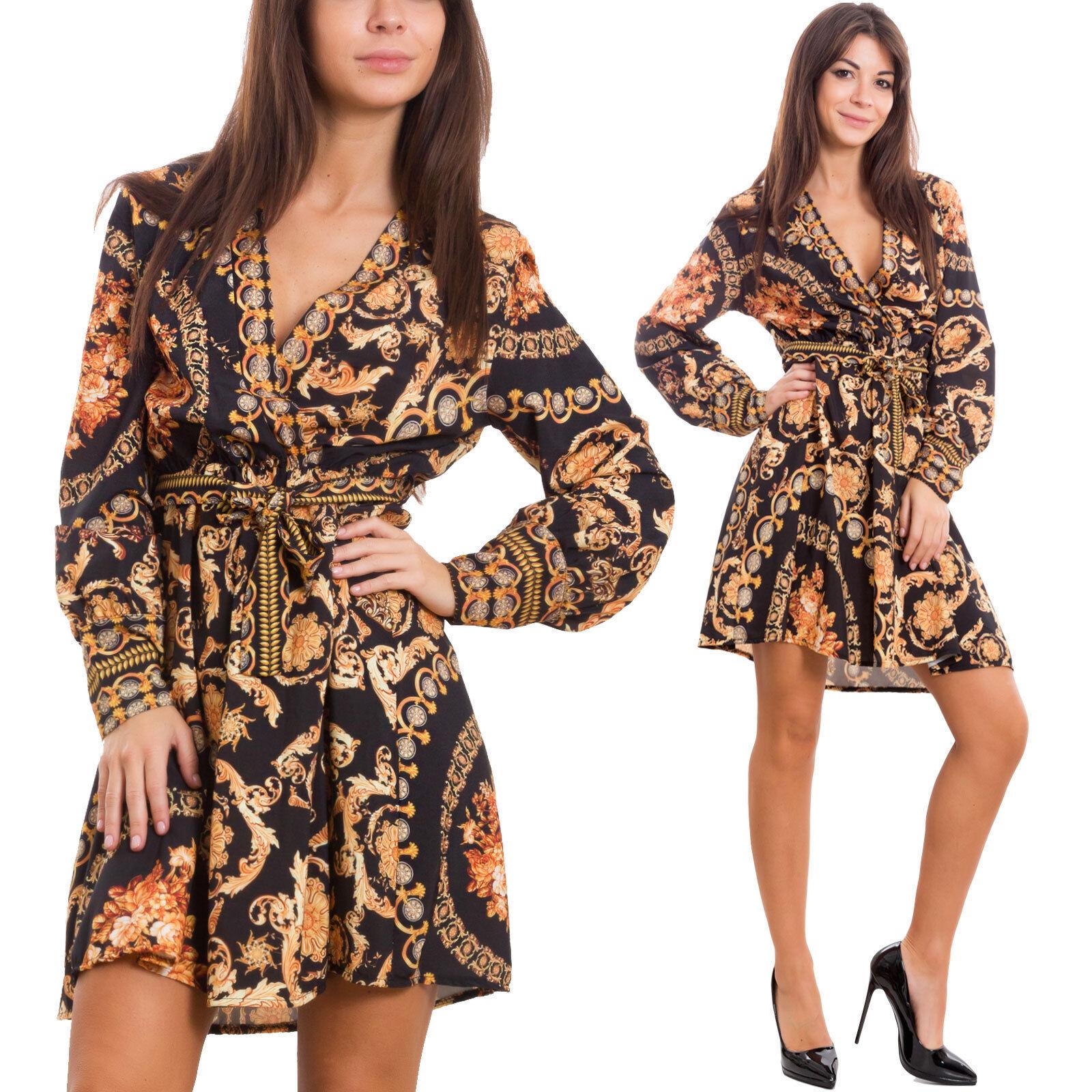 Vestito donna corto mini abito fantasia barocca scollato elegante sexy 548257a39e4