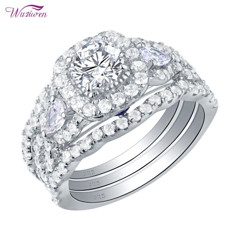 Wuziwen Wedding Engagement Ring 3pcs Set Round Pear Aaaa Cz 925 Sterling Silver