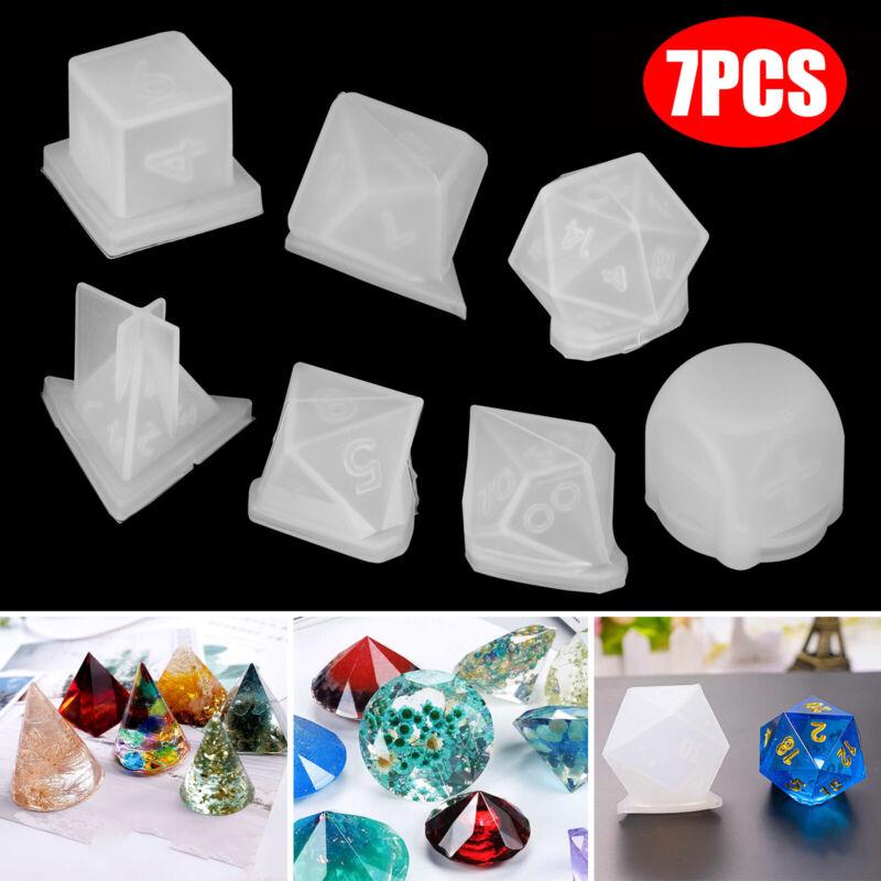 7Pcs DIY Crystal Epoxy Mold Dice Shape Digital Game Silicone Triangle Mould Set