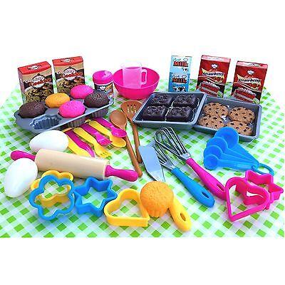 Backset 50 teilig Kuchen Plätzchen backen für Kinder Kinderküche Spielküche Neu