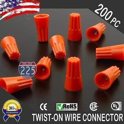 200 Orange Twist-on Wire Gard Connector Conical Nuts 22-14 Gauge Barrel Screw