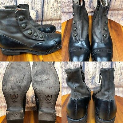 Womens Hollywood HTC LOS ANGELES D98425 Black Steampunk Ankle Boots SIZE 39 US 8