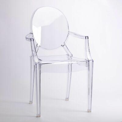 KLARER GHOST ESSZIMMERSTUHL TRANSPARENT MODERN STARCK INSPIRIERT STAHL SESSEL (Esszimmer Stuhl, Moderne)