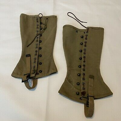 Spats, Gaiters, Puttees – Vintage Shoes Covers Vintage Military Green Leggings Spats Canvas 2R 0-7036- $39.00 AT vintagedancer.com