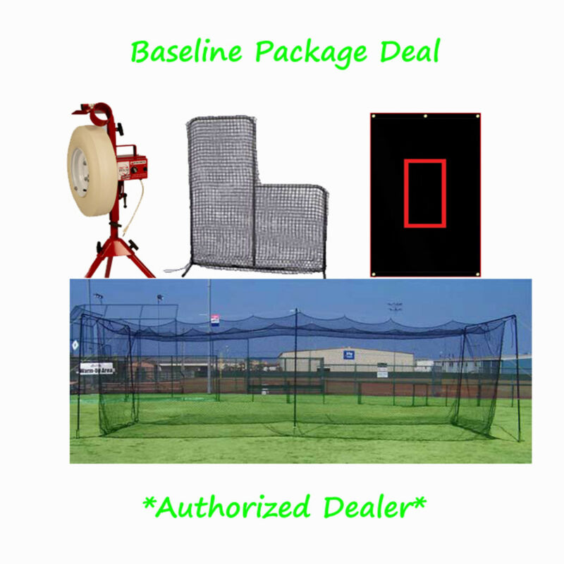 New!  Baseline Pitching Machine & 60 ft Batting Cage Kit Package
