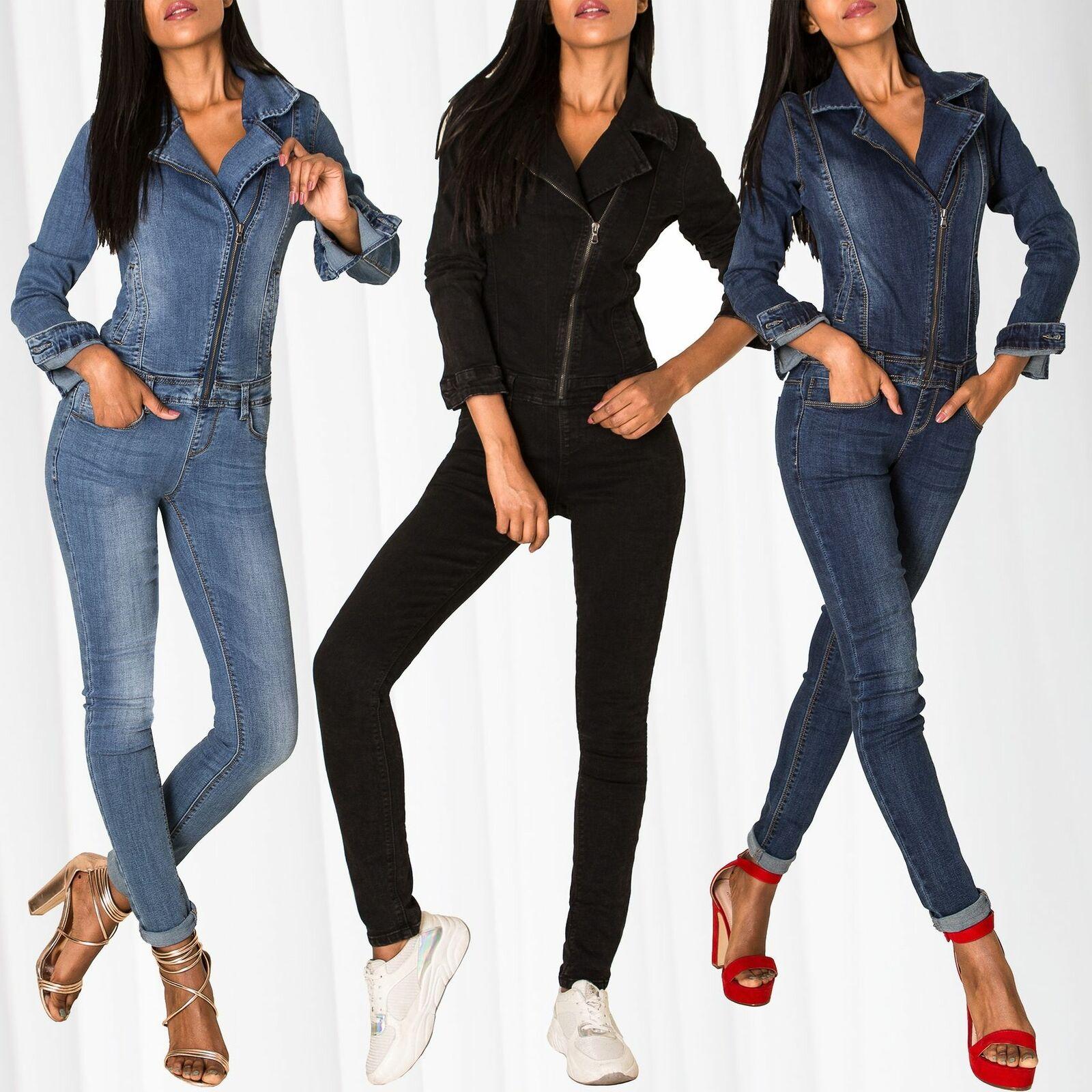 Damen Jeans Overall Jumpsuit Hosenanzug Einteiler Asymmetrisch Biker Catsuit