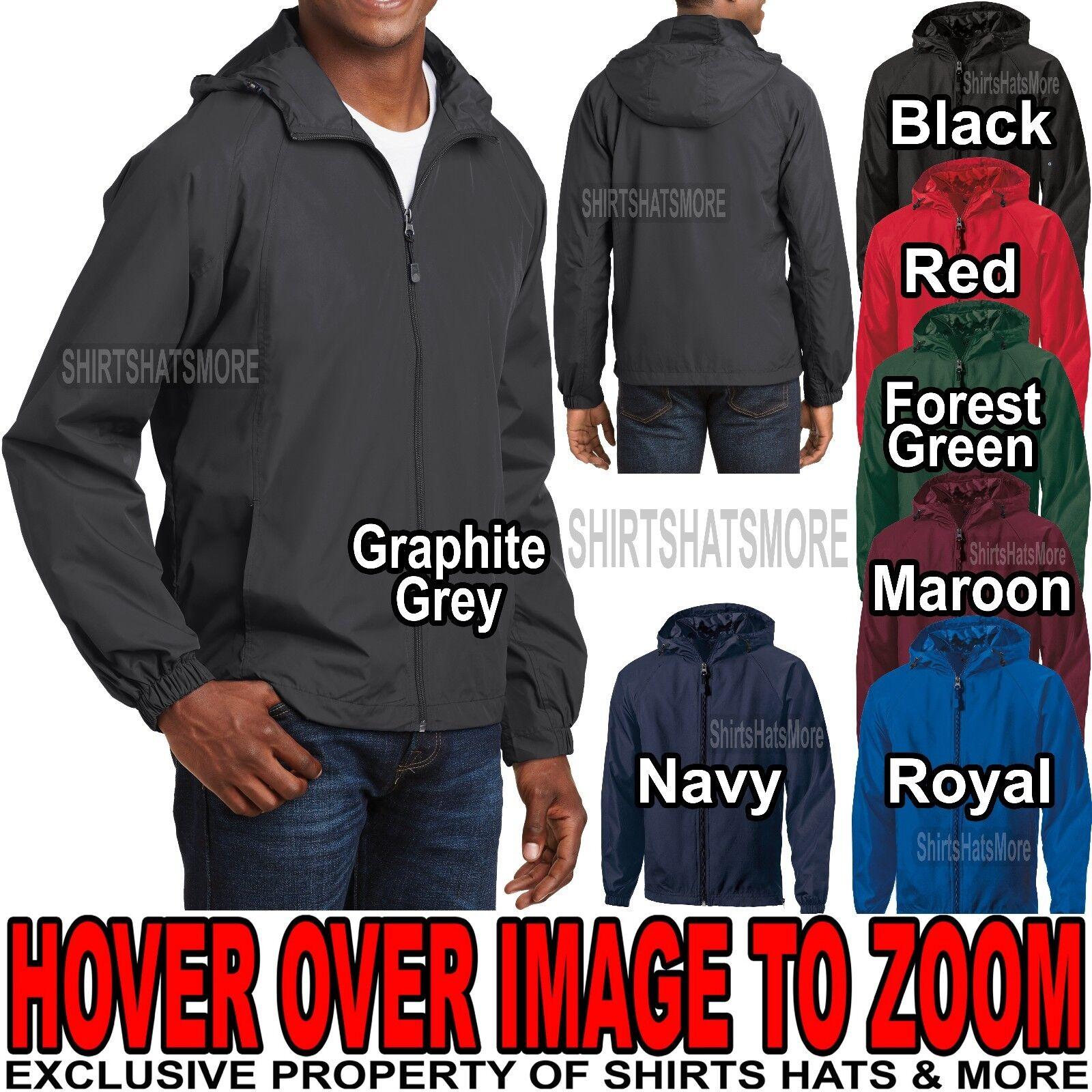 Mens Hooded Zip Front Jacket Pockets Windbreaker Water Resis