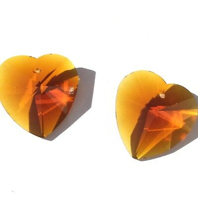 - Czech Preciosa Crystal Heart Light Burnt Orange 2 Loose Beads