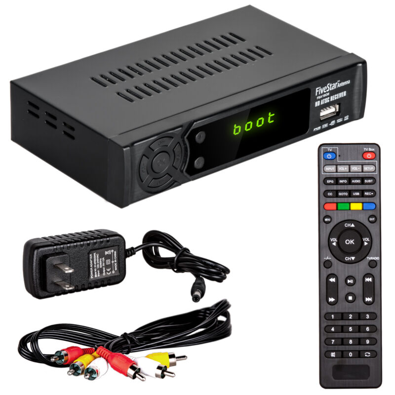 Open-box Digital TV to Analog TV Converter Box W DVR Recording Remote Control