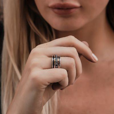Spinner Two Tone 9k Yellow & Rose Gold Silver 1.6Ct Garnet Gemstone Ring Size 9k Yellow Gold Garnet Ring
