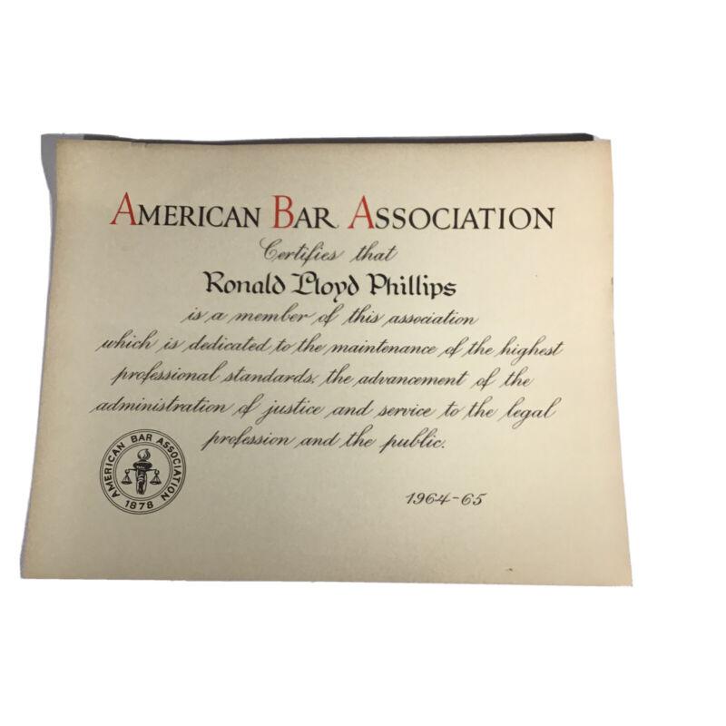 VINTAGE 1964 AMERICAN BAR ASSOCIATION MEMBERSHIP CERTIFICATE COLLECTIBLE