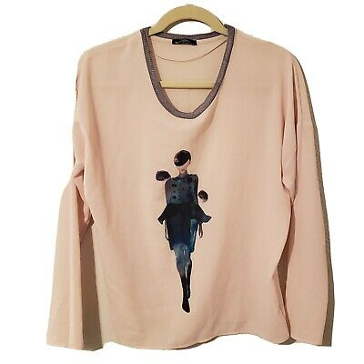 ZARA WOMAN Long Sleeve T-Shirt with print of lady size s