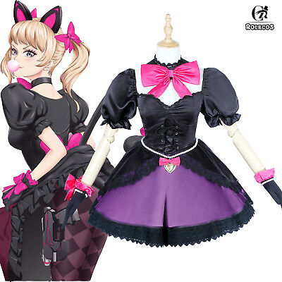 Overwatch Dva Outfit Black Cat Luna Dress Puss Maid Suit Cosplay Costume Cat (Black Cat Outfit)