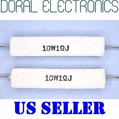 2x 10w 1 Ohm 1r 5 Ceramic Cement Power Resistor New 1ohm 10 W 10watt Watt