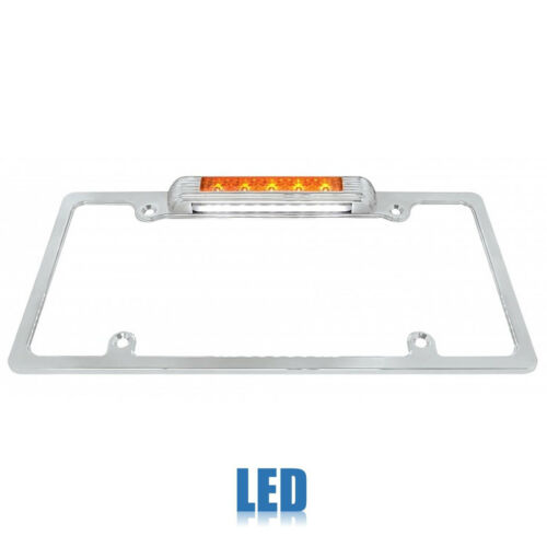 Chrome Plate Frame w/Amb LED Third Brake Lamp & White LED License Light