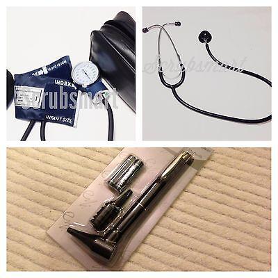 Infant Pediatric Blood Pressure Bp Cuff Stethoscope Otoscope Set -black