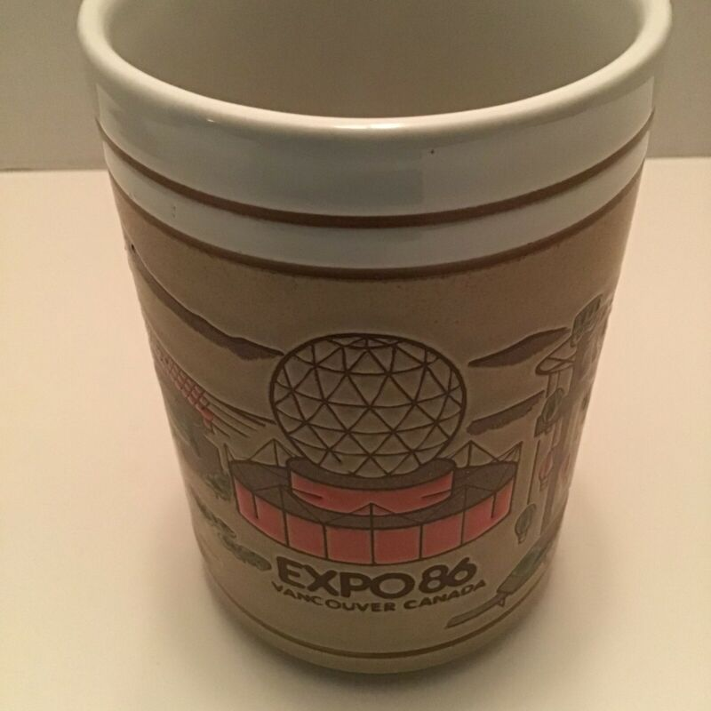 Expo 86 Vancouver Canada Coffee  Large Mug Cup Espresso Etched Tan And Pink