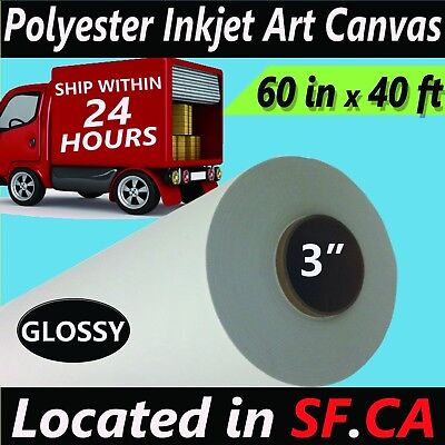 Canvas Solvent (60 in x40 ft, Glossy Polyester Inkjet Art Canvas Eco-solvent Epson Canon Printer )
