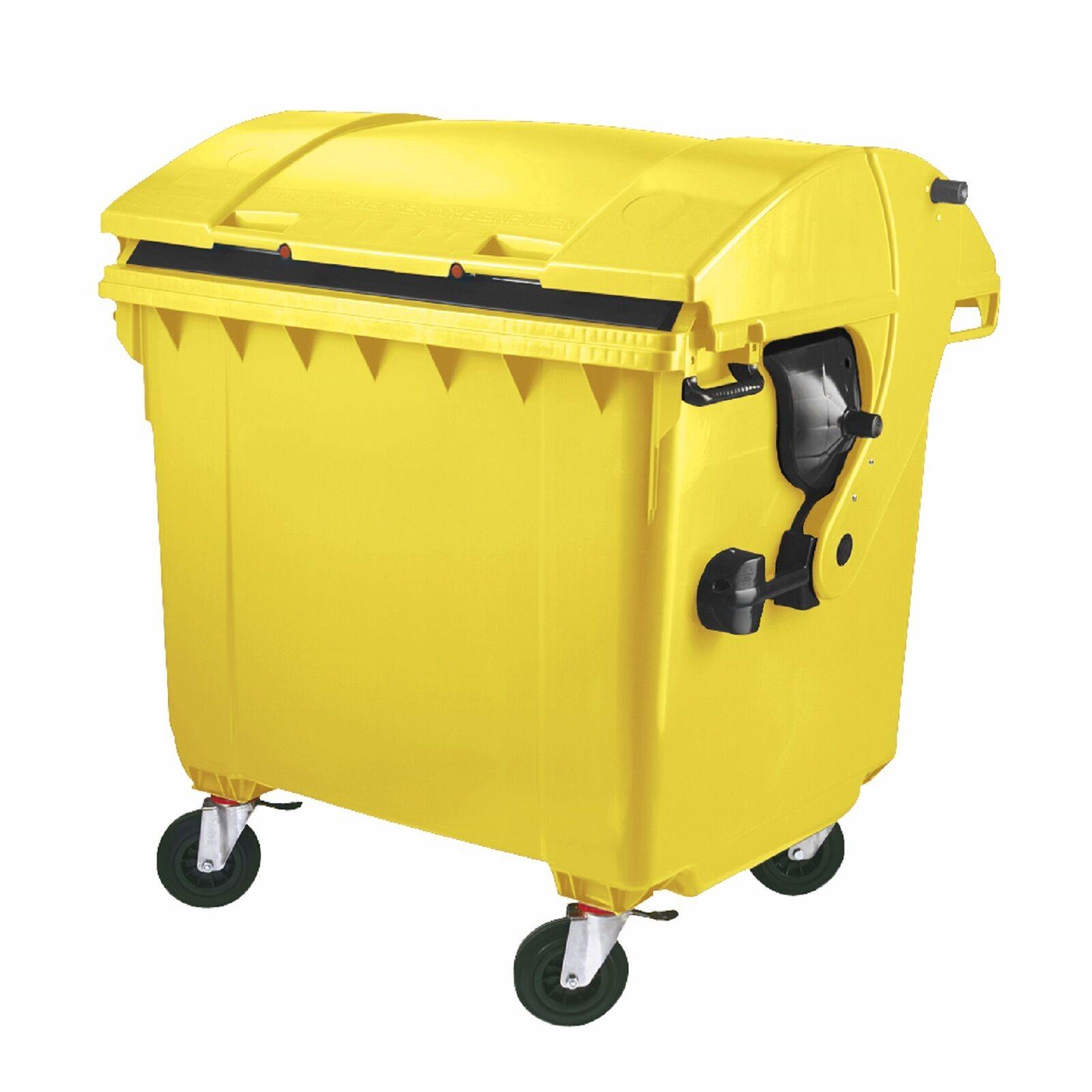 Müllgroßbehälter Großmüllcontainer Mülltonne 1100 Liter Runddeckel gelb