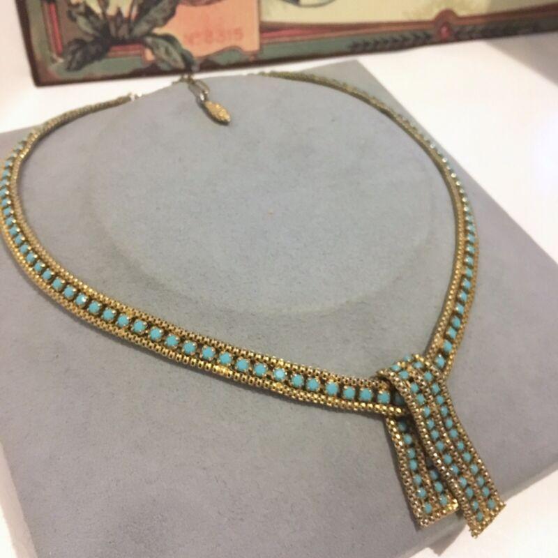 Pennino Necklace Vintage Knot Aqua Blue Rhinestones Pine Cone Tag Princess L