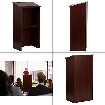 wood stand-up podium lectern, mahogany | floor-standing adjustable shelf </span