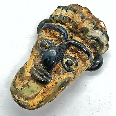 Glass Anthropomorphic Face Bead Mediterranean Pendant Ancient Artifact Styled
