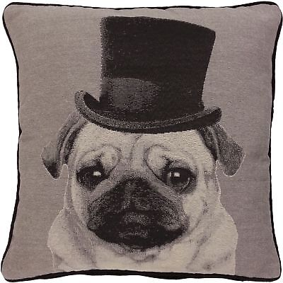 FILLED LORD PUGGINGTON TOP HAT PUG DOG WOVEN TAPESTRY MONOCHROME CUSHION 18
