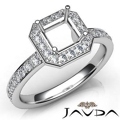 Asscher Diamond Halo Pave Setting Semi Mount Engagement Ring Platinum 950 0.45Ct