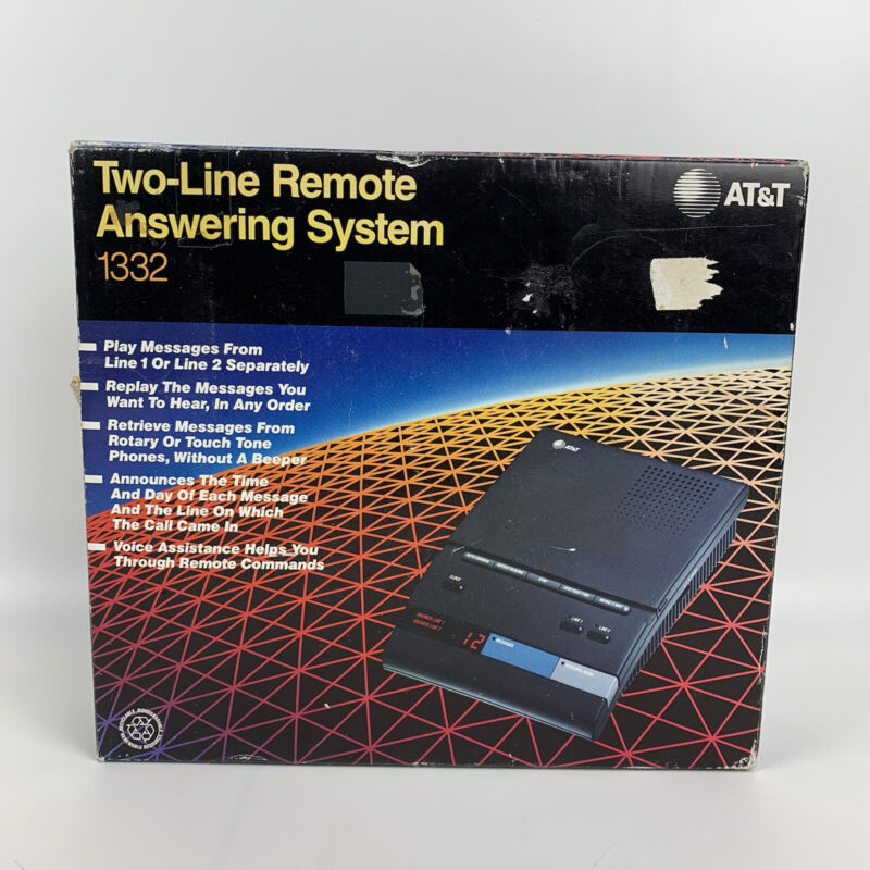 AT&T two-line Remote Answering System #1332 w/ book, ORIGINAL BOX, NEVER USED.