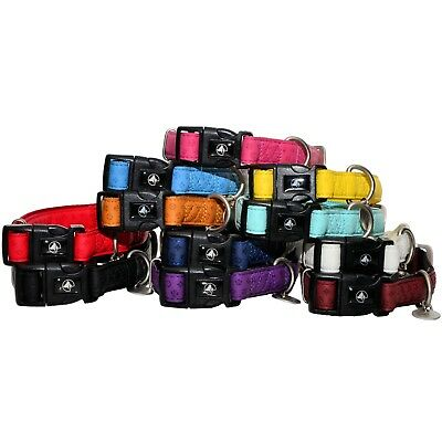 Adjustable Dog Clip Collar - DOG PUPPY COLLAR Leatherette/Nylon SOFT PADDED Adjustable Clip On Buckle