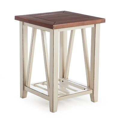 Modern Farmhouse Rustic Wood Two Tone Brown Antique White Square End Table  Antique White Rustic Wood