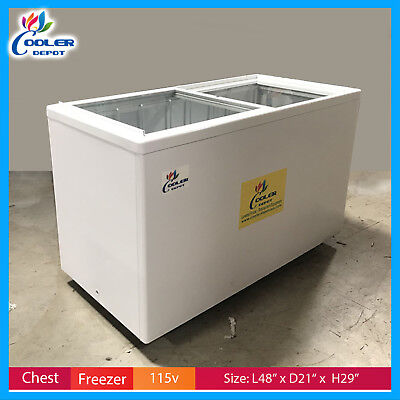 53 Chest Freezer Glass Top Gelato Ice Cream Dipping Cabinet Nsf Cooler Depot