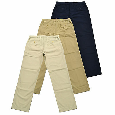 Tommy Hilfiger Mens Chinos Pants Flat Front Classic Fit Flag Logo Bottoms New (Tommy Hilfiger Classic Chino)