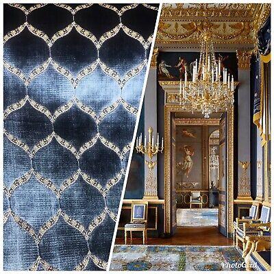 Novelty Designer Italian Burnout Geometric Velvet Fabric - Upholstery- Blue G7 (Novelty Upholstery Fabric)