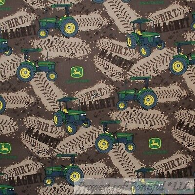 BonEful FABRIC FQ Cotton Quilt Brown Green Tractor John Deere Farm Dirt Track*s - Monster Truck Costume
