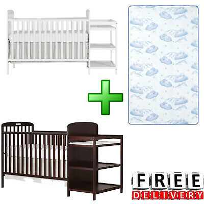 Baby Crib With Mattress 4-in-1 Full Size Changing Table Combo Furniture New -