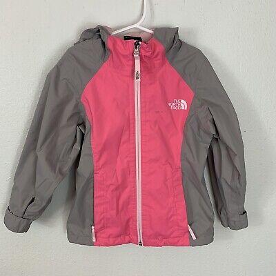 The North Face DryVent Rain Jacket Windbreaker Girl's XXS 5 Gray Pink Hooded