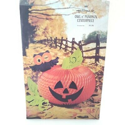 Vintage Hallmark Owl n' Pumpkin Centerpiece 9 inches Tall