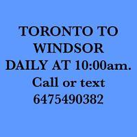 TORONTO-LONDON-WINDSOR DAILY AT 10:00AM 6475490382.