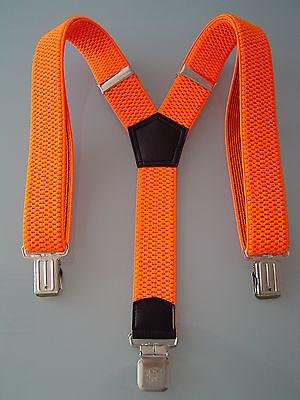 MENS MEN LADIES BRACES NEON ORANGE 40mm!!! Wide THICK HEAVY DUTY TROUSERS BRACES](Neon Orange Suspenders)